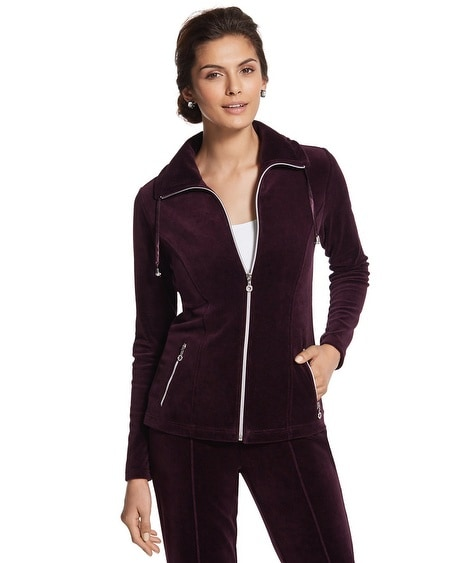 Zenergy Boysenberry Velour Zip Front Jacket