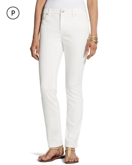 So Slimming Petite Girlfriend Alabaster Ankle Jeans