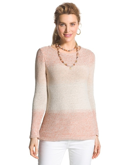 Space-Dye Jewel Pullover in Gingered Peach