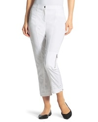 Zenergy Finely Tab-Detail Crop Pants in Optic White