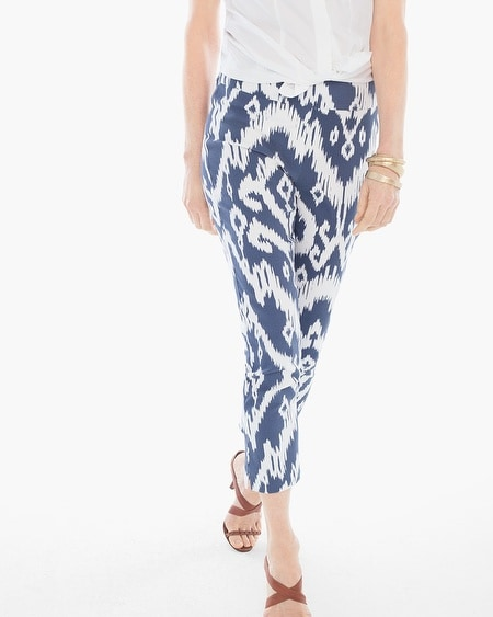 So Slimming Brigitte Ikat Palm Spring Crop Pants in Lunar Tide