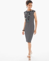 Casual Stripe T-Shirt Dress in Black and White