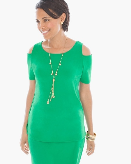 Travelers Classic Cold-Shoulder Top in Heartland Green