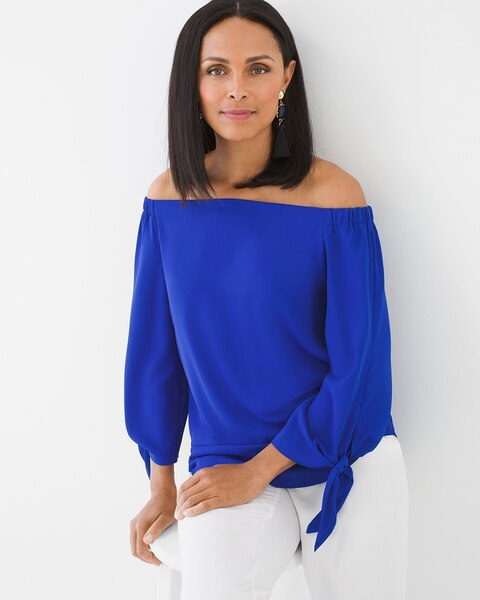 ef2f31f7 Return to thumbnail image selection Off-the-Shoulder Tie-Sleeve Top -NLA  video preview image, click
