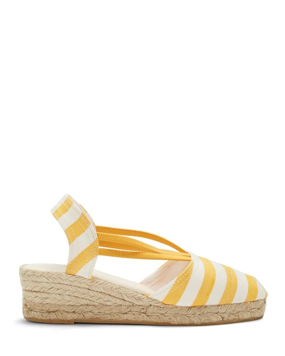 1515acb23f4 Jessa Yellow Striped Espadrille Wedges