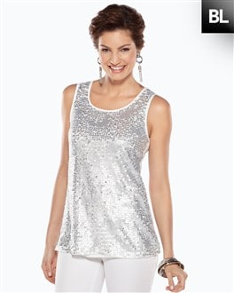 Black Label Sequin Mesh Tank