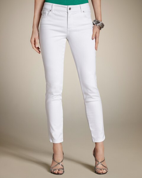 Zipper Ankle Jeans in White