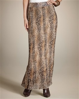 Pleated Animal Maxi Skirt