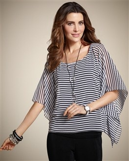Travelers Collection Amanda Stripe Overlay top