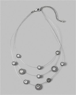 Text Stud Illusion Multi-Strand Necklace