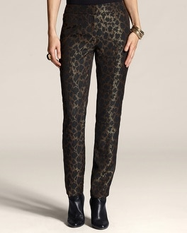 Jacquard Animal Trouser Ankle Pant
