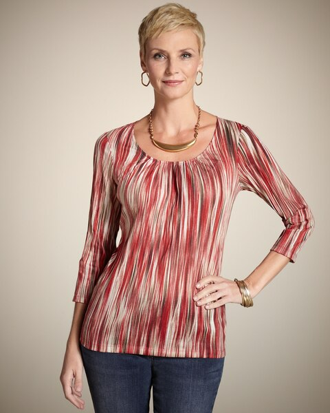 Red Crinkle Shirred Scoop Tee