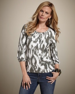 Ikat Sensation Detailed Scoop Top