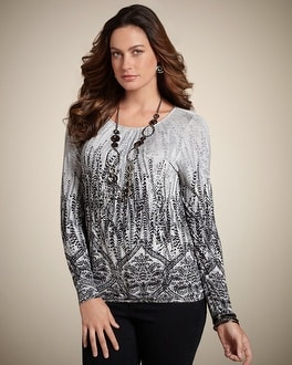 Heathered Lines Peasant Top