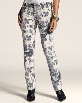 So Slimming Floral Print Slim-Leg Jean