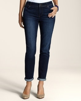 Platinum Denim Dark Pacific Wash Roll Cuff Ankle Jean