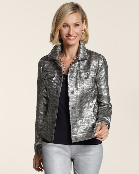 Metallic Jacquard Denim Jacket
