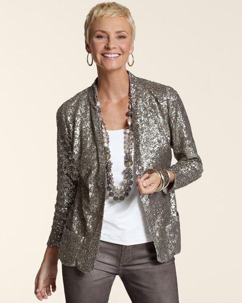b299cf2eec5fb9 Return to thumbnail image selection All Over Sequin Jacket video preview  image