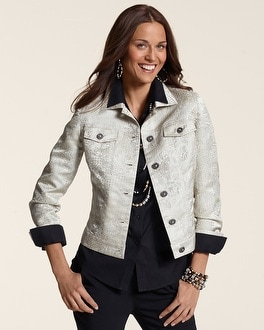 Metallic Lace Jacquard Jean Jacket