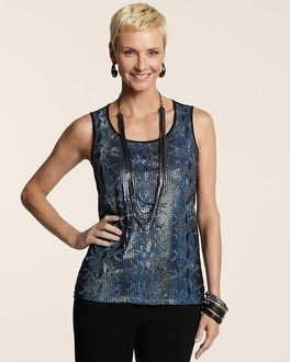 Flocked Pattern Sequin Tank