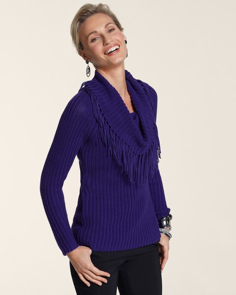 Fringe Cowl Neck Sweater - Chicos