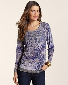 Paisley Melody Scarlett Trim Top