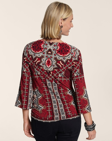 Centered Scarf Side Ruching Top