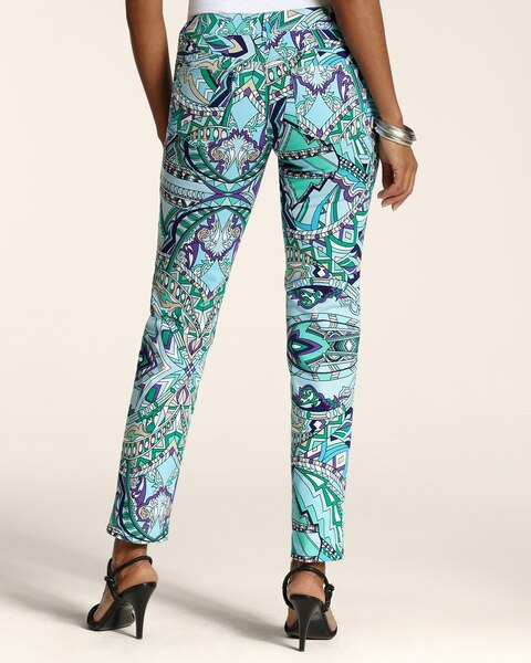 Mosaic Print 5-Pocket Ankle Pants