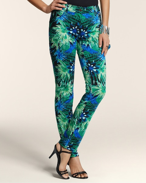 Tropical Palms 5-Pocket Ankle Pants