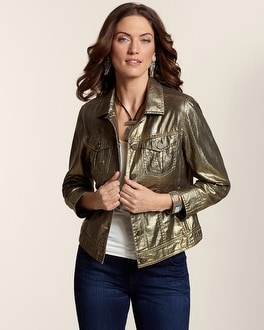 Metallic Shine Denim Jacket