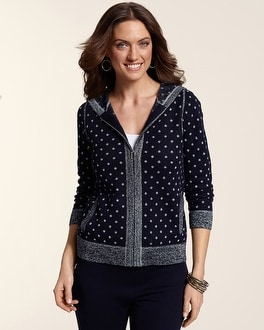 Zenergy Knit Collection Cozy Dot Zip Cardigan