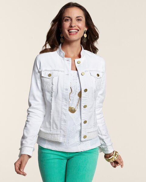 Lace Trim Denim Jacket