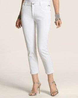 So Slimming By Chico's White Pocket Details Crop
