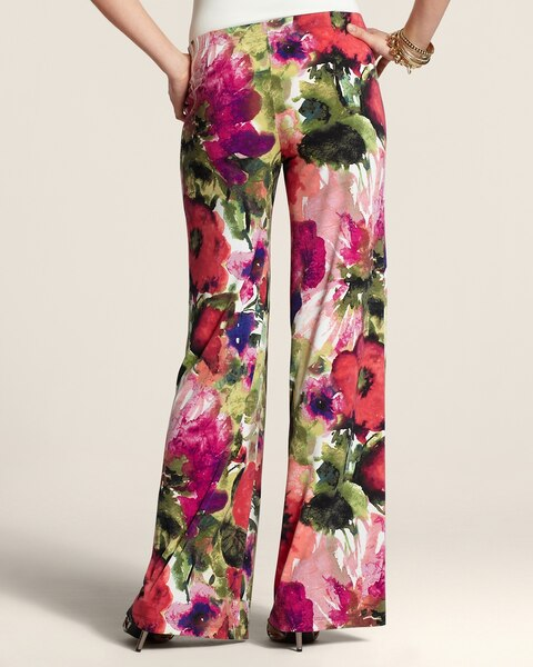 Upscale Floral Print Pull-On Pants
