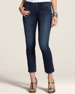 So Slimming By Chico's Dark Ocean Pocket Details Crop
