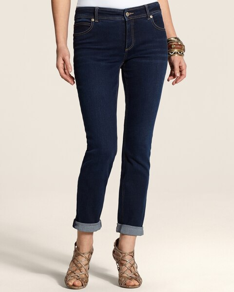 Roll Cuff Ankle Jeans in Dark Bella Wash