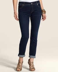 So Slimming By Chico's Dark Bella Wash Roll Cuff Ankle Jean