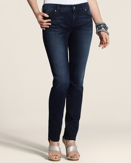 So Slimming By Chico's Medium Blue Wash Shiny Slim-Leg Jean