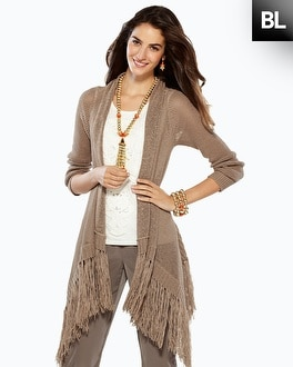Black Label Long Fringe Cardigan