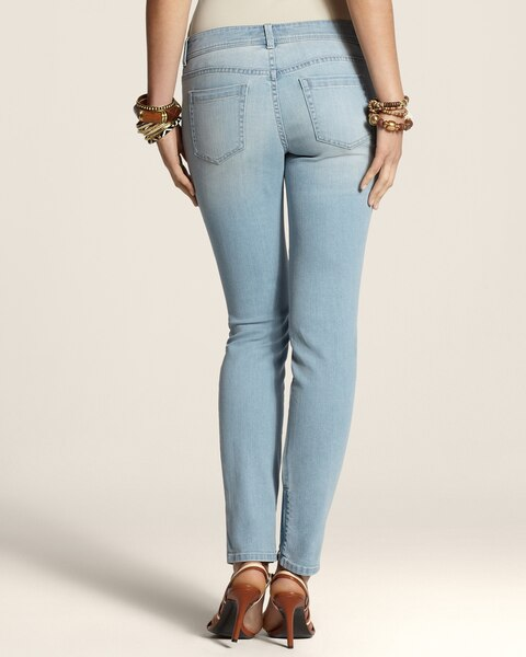 Platinum Denim Zip-Ankle Jeans in Bleached Ocean Wash