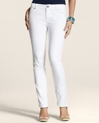 Platinum Denim White Zip-Ankle Jean
