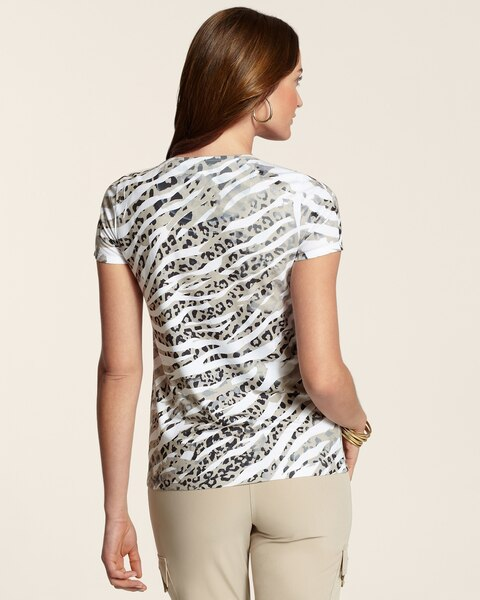 Aimee Animal Print Lace Texture Tee