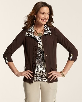 Zenergy Neema Alice Animal Print Trim Jacket