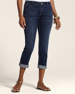 So Slimming By Chico's Dark Indigo Wash Roll Cuff Crop
