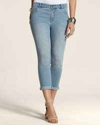 So Slimming By Chico's Light Indigo Wash Roll Cuff Crop