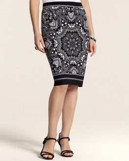 Sara Paisley Pencil Skirt