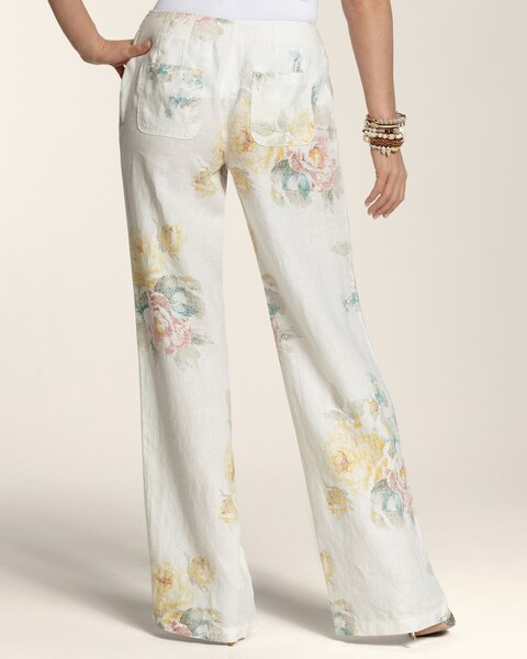 Crosshatch Floral Linen Pants - Chico's