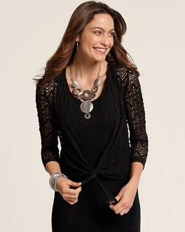 Travelers Collection Crochet Tie Jacket