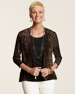 Speckled Animal Layla Ruffle Cardigan