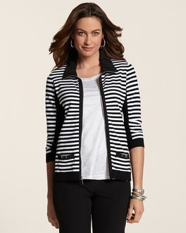 Zenergy Stripe Zip-Front Sweater